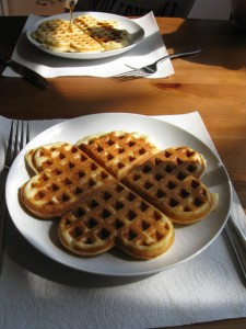Heart shaped waffles on a Saturday morning