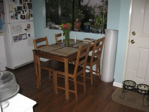 Kitchen after (with leftover floor padding)