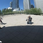 "Our reflection in ""the Bean,"" in Millennium Park."