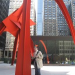 "Me next to Calder's ""Flamingo"" sculpture."
