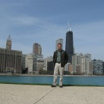 Robby in front of the Chicago skyline.