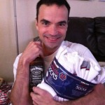 Robby's stocking stuffers--new socks and a bottle of Jack, ha