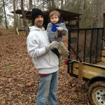 The boys spent a day logging firewood. It was cold in South Mississippi!