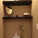 We finally finished building shelves in our powder room! Now I just need to figure out how to style them...
